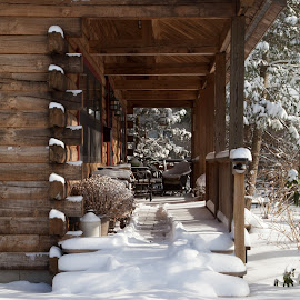 Cabin Porch by Steve Fischer - Buildings & Architecture Homes ( snow scene, wooden building,  )