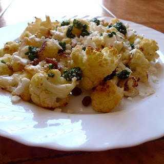 Roast Cauliflower with Raisins and Parsley dressing