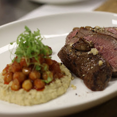 The Ivy's Moroccan Spiced Rump of Lamb with Fattouche and Houmous (Serves 2)