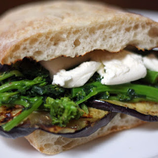 Grilled Eggplant, Broccoli Rabe, and Mozzarella Sandwich