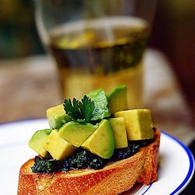 Avocado Bruschetta with Green Sauce