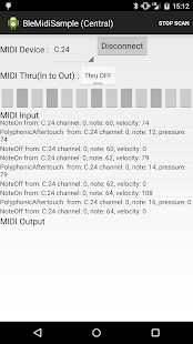 BLE MIDI Sample App - screenshot