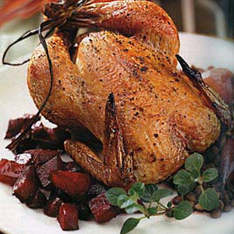 Cornish Game Hens with Pancetta, Juniper Berries and Beets