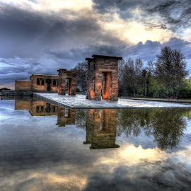 Debod Temple at sunset by Rino Calori - City,  Street & Park  City Parks ( hdr, debod temple, madrid, spain )