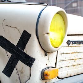 Fix it by Péter Mocsonoky - Transportation Automobiles ( car, old, trabant, yellow, repair, wrack )