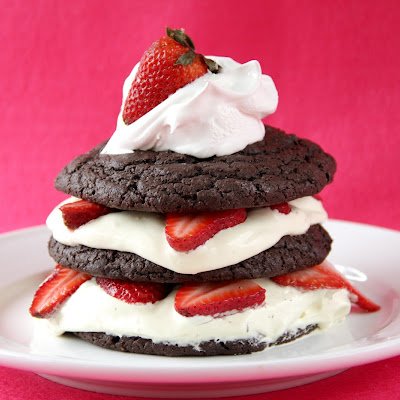 Dark Chocolate Strawberry Shortcakes with Amaretto Cream