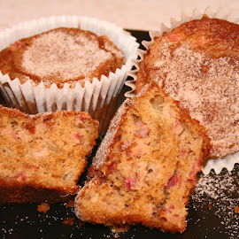 Rhubarb Muffins by Waynette  Townsend - Food & Drink Plated Food ( plated, muffins, rhubarb, cooking, baking, sugar,  )