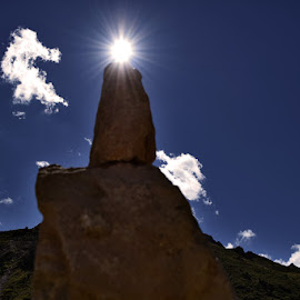 Sun above by Yannick Faven - Nature Up Close Rock & Stone ( sky, mountain, stone, france, construction, sun )