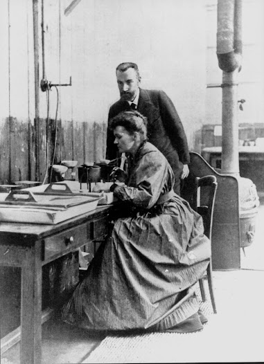 Marie and Pierre Curie in their laboratory, circa 1898