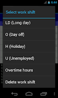 Screenshot of Work Shift Calendar