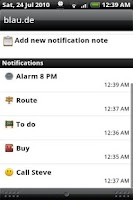 Screenshot of Status Notes