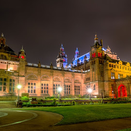 Kelvingrove Art Gallery at Night by Paul Bradburn - Buildings & Architecture Public & Historical ( scotland, arhitecture, gallery, art, glasgow, night, museum )
