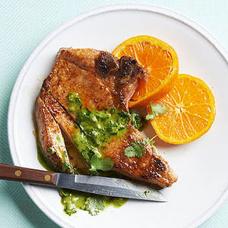 Pan-Seared Pork Chops with Cilantro Pesto