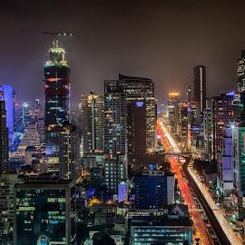 Bangkok night by John Einar Sandvand - City,  Street & Park  Night ( bangkok, thailand, night, city )