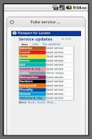 Screenshot of London Live Tube Information