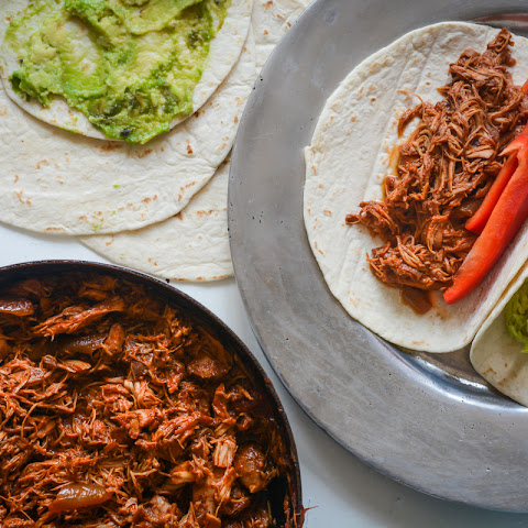 9 hour Pulled BBQ Chicken tortillas with guacamole