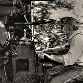 The Engineer by Jeff Stallard - People Portraits of Men ( cab, engine, railroad, engineer, train, steam )