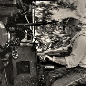 The Engineer by Jeff Stallard - People Portraits of Men ( cab, engine, railroad, engineer, train, steam )