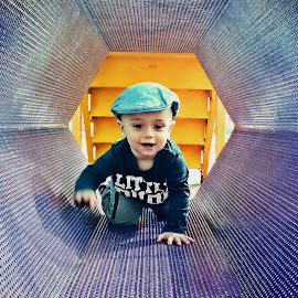 by Angie Constable - Babies & Children Toddlers ( playing, park, baby, crawling, baby boy, tunnel,  )