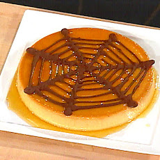Sweet Potato Flan with Chocolate Spider's Web
