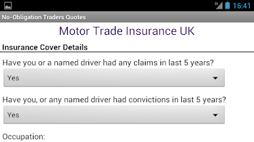 Screenshot of Motor Trade Insurance UK