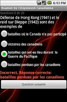 Screenshot of Examen Citoyenneté Canadiene