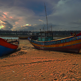 The Boats in the Beach by Manabendra Dey - Landscapes Beaches ( orissa, sea--beach, boats, beach, boat, talsari, boats in the beach )