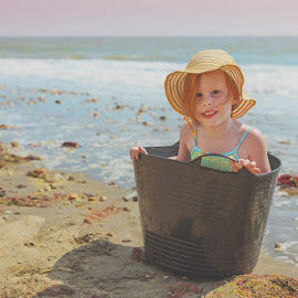 Bucket Boat by Sare Moonfruit - Babies & Children Child Portraits ( redhead, ocean, childhood, beach, seaside, surf, portrait )