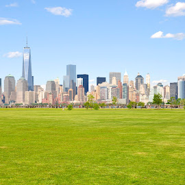 Manhattan City from Liberty State Park by Indra Suryatama - City,  Street & Park  City Parks ( liberty state park, manhattan, cityscape, new york, landscape )