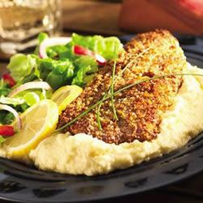 Pecan-Crusted Catfish with White Cheddar Grits