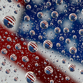 Stars and Stripes by Lynne McClure - Abstract Patterns ( abstract, water drops, patterns, flag, red, macro photography )