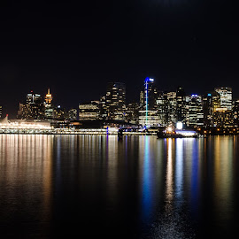 Vancouver Harbour by Cory Bohnenkamp - City,  Street & Park  Night ( skyline, harbour, long exposure, night, vancouver )