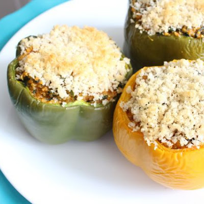 Cheesy Pumpkin Quinoa Stuffed Peppers