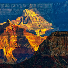Sun going down over the North Rim of the Grand Canyon by Brent Morris - Landscapes Mountains & Hills