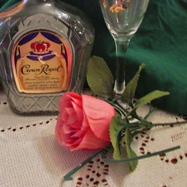 Crown and Coke with a Rose by Terry Linton - Food & Drink Alcohol & Drinks ( rose, mini size, glass, bottle,  )