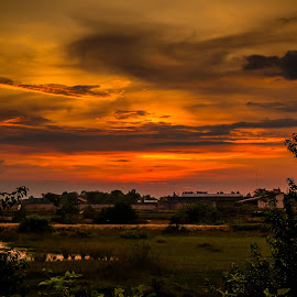 Twilight after the rain by Fesha Pramsyah - Landscapes Travel ( orange, sunset, lanscape )