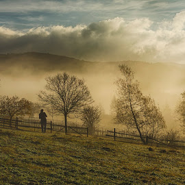 Foggy sunrise by Ovidiu Marinoiu - Landscapes Mountains & Hills ( clouds, hills, fog, trees, sunrise )