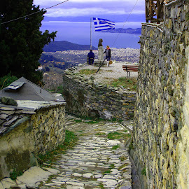 Makrinitsa by Stratos Lales - City,  Street & Park  Historic Districts ( flag, volos, sea, stone, pelion )