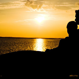 The mysterious romance by Rohan Sapare - Wedding Bride & Groom ( sunset, wedding, romantic, couple, beach )