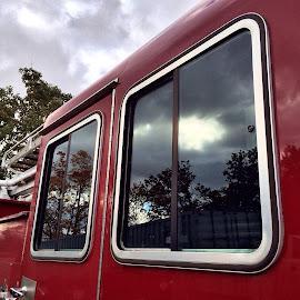 Reflections on a fire truck by Bridget Wegrzyn - Transportation Other