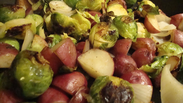 Pan-Roasted Brussel Sprouts with New Potatoes, Onions, and Crispy Parmesan