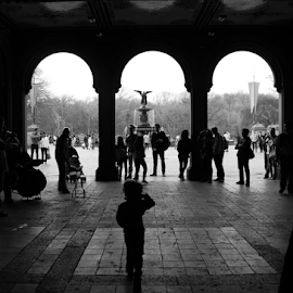 I Came Here to Dance  by Samy St Clair - Buildings & Architecture Statues & Monuments ( child, black and white, fountain, candid, nyc, new york city, people, street photography )