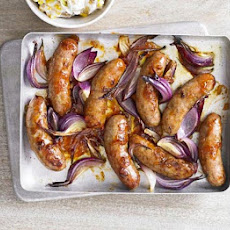 Sticky Sausages With Potato Sweetcorn Salad