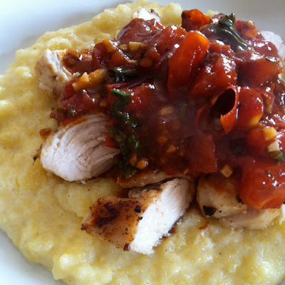 Chicken with Tomato-Herb Pan Sauce and Polenta (Pink Parsley)