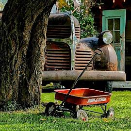 Rural Rathdrum, Idaho by Barbara Brock - City,  Street & Park  Neighborhoods ( old car, rural neighborhood, red wagon )