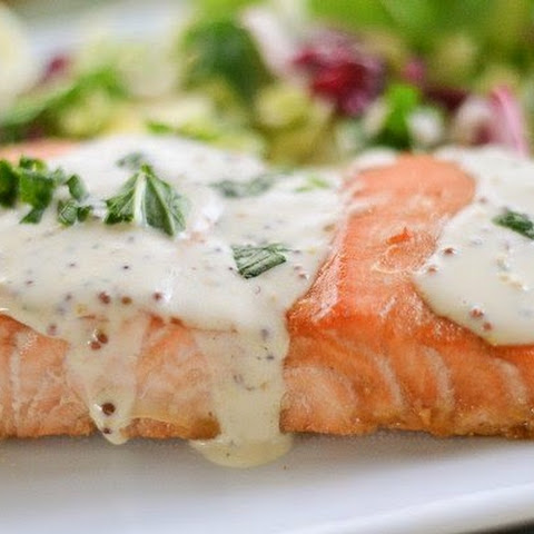 Marinated Salmon In a Mustard Cream Sauce