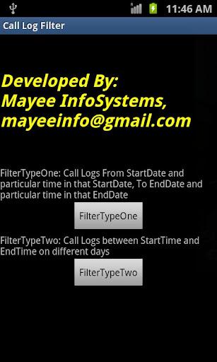 Call History Filter