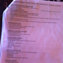 Page 1 of gluten-free menu