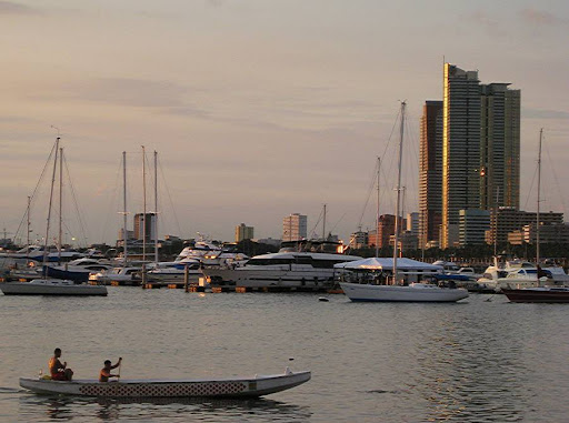bangka at the Manila Yacht Club with a view of 1322 Golden Empire Tower