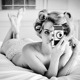 A quick click and a curl by Mark Keane - Nudes & Boudoir Boudoir ( frilly, curlers, vintage, black and white, camera, implied, beauty, eye )